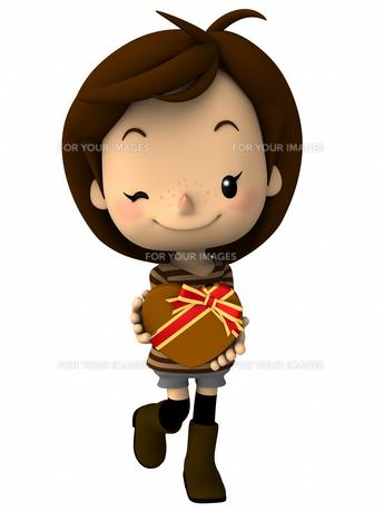 バレンタインデー チョコレートを持つ女の子の写真素材 [FYI00290053]