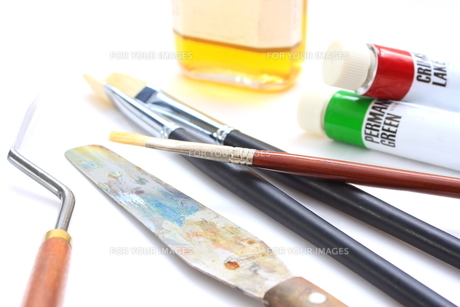 油絵の道具の写真素材 [FYI00290211]