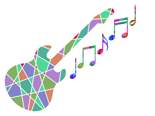 カラフルなギターと音譜の写真素材 [FYI00298028]