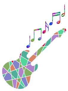カラフルなギターと音譜の写真素材 [FYI00298039]