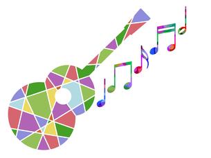 カラフルなギターと音譜の写真素材 [FYI00298044]