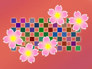 桜の花と市松模様の写真素材 [FYI00298254]