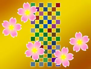 桜の花と市松模様の写真素材 [FYI00298275]