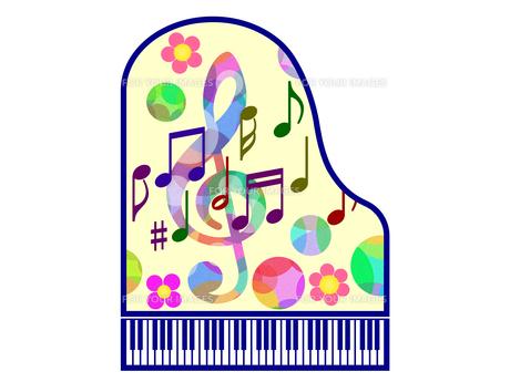 音符と花柄で飾ったピアノの写真素材 [FYI00298379]
