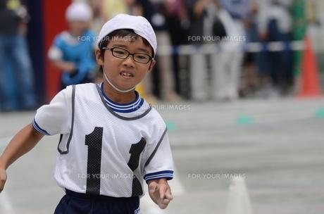 運動会で走るリレー選手の写真素材 [FYI00302933]