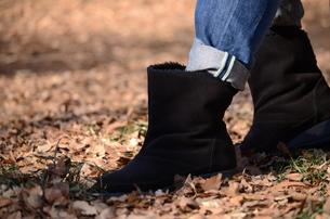 枯れ葉を踏む女性のブーツの写真素材 [FYI00302938]