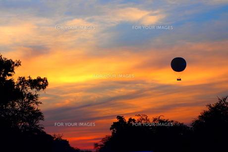 夕陽の中を飛ぶ気球の素材 [FYI00303252]