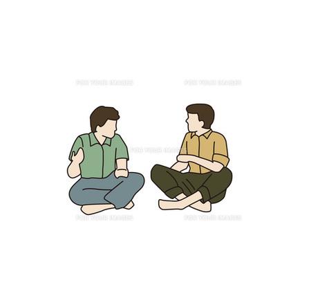 座る兄弟の写真素材 [FYI00303273]