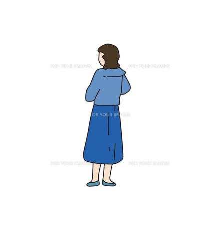 青い服の女性の写真素材 [FYI00303278]