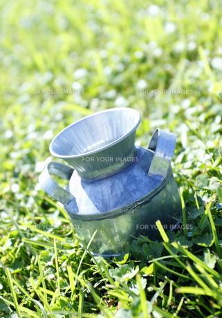 草地の上のミルク缶のおもちゃの素材 [FYI00303946]