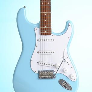 青いエレキギターの写真素材 [FYI00304634]