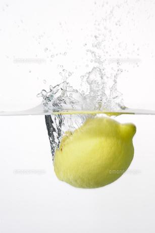 水に落ちたレモンの写真素材 [FYI00304703]