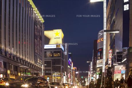 銀座4丁目の夜景の写真素材 [FYI00307152]