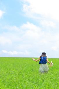 夏の草原を走る少女の写真素材 [FYI00307604]