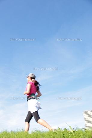 土手をジョギングする若い女性の写真素材 [FYI00307621]