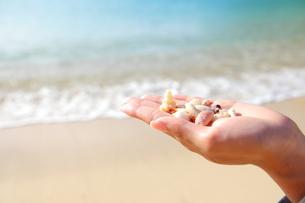 手に持った貝殻とビーチの写真素材 [FYI00307662]
