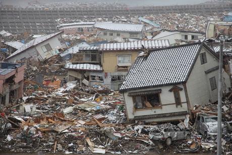 津波で破壊された田老の街の写真素材 [FYI00307844]