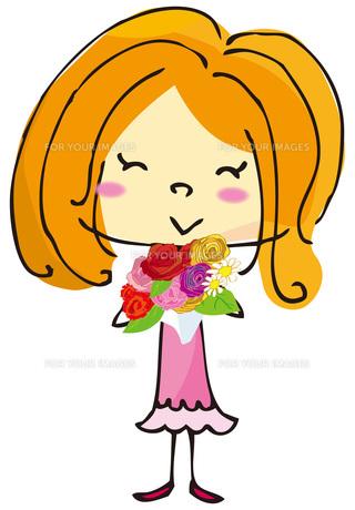 花束を持った女の子の素材 [FYI00307976]