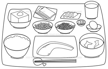 日本の朝食(モノクロ)の写真素材 [FYI00308052]