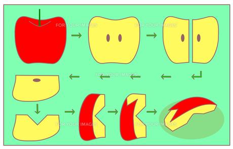 うさぎ型りんごの作り方(緑)の素材 [FYI00308059]