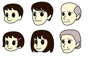 3世帯家族の顔イラストの素材 [FYI00308085]