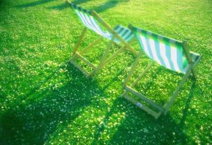 芝の上のデッキチェアの写真素材 [FYI00308539]