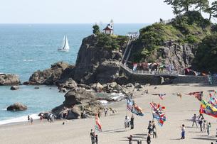 大漁旗で賑わう桂浜の写真素材 [FYI00308626]