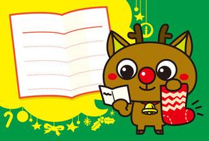 赤鼻のトナカイのメッセージカードの写真素材 [FYI00308742]