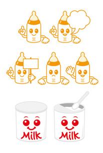 哺乳瓶と粉ミルク缶のキャラクターの素材 [FYI00308771]