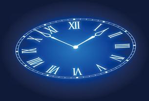 青く輝く時計の写真素材 [FYI00308784]