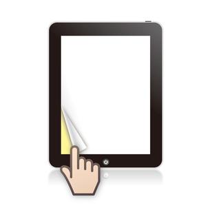 タブレットPCで電子書籍をめくるの写真素材 [FYI00308802]