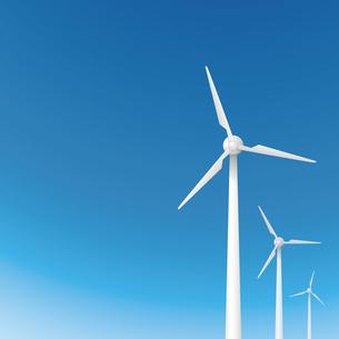 風力発電の風車と青空の素材 [FYI00308808]