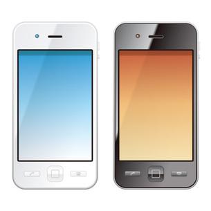白いスマートフォンと黒いスマートフォンの写真素材 [FYI00308814]