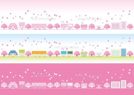 桜の花ひ?らか?舞う春の町の素材 [FYI00308818]