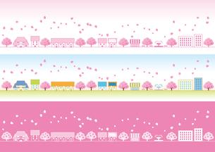 桜の花ひ?らか?舞う春の町の写真素材 [FYI00308818]