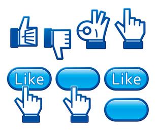 ライクボタンと指アイコンの写真素材 [FYI00308822]