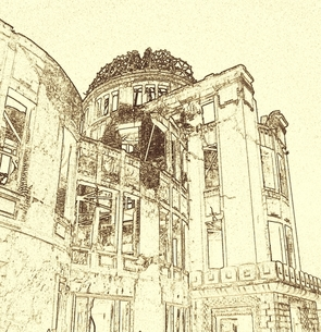 被爆地広島の原爆ドームのセピア色のコラージュの写真素材 [FYI00312389]