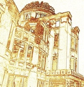 被爆地広島の原爆ドームのセピア色のコラージュの写真素材 [FYI00312402]