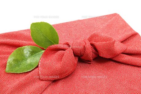 風呂敷と椿の葉の写真素材 [FYI00312763]