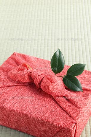 風呂敷と椿の葉の写真素材 [FYI00312789]