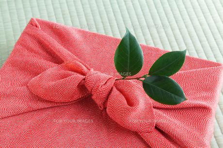 風呂敷と椿の葉の写真素材 [FYI00312794]