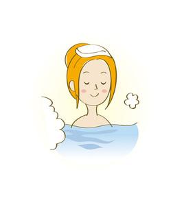 温泉に入浴する女性の写真素材 [FYI00313142]