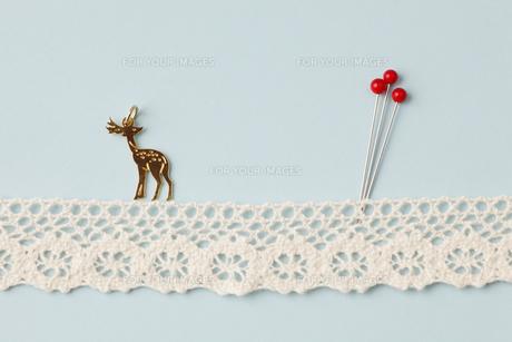赤い虫ピンと鹿さんぽの写真素材 [FYI00313438]