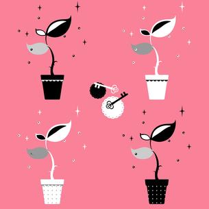 キラキラ植物と鍵の写真素材 [FYI00313550]