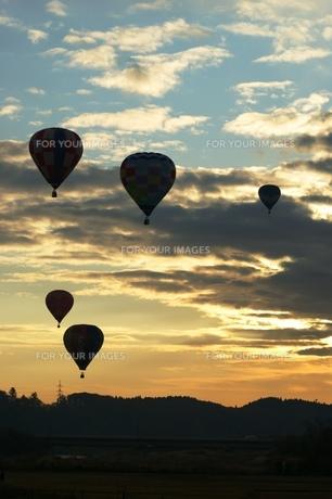 朝焼けと熱気球の写真素材 [FYI00313777]