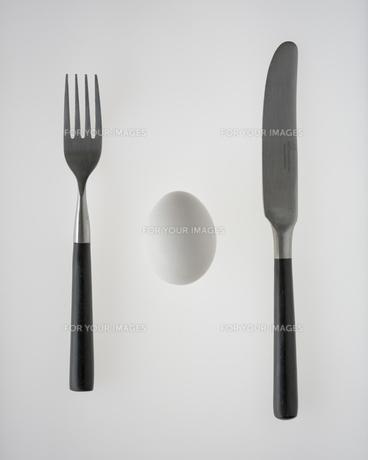 フォーク、ナイフとタマゴの写真素材 [FYI00313864]