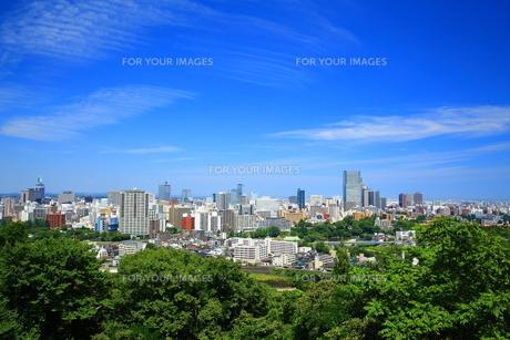宮城県仙台市 仙台城跡からの街並みの写真素材 [FYI00315187]