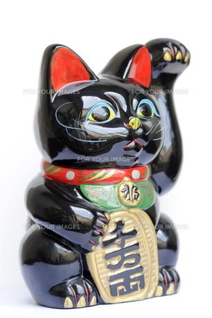 黒招き猫斜めの写真素材 [FYI00315408]