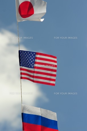 青空の万国旗-1の写真素材 [FYI00316403]