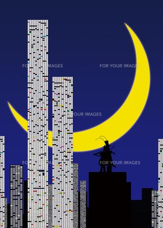 月夜の演奏バッタの写真素材 [FYI00316914]